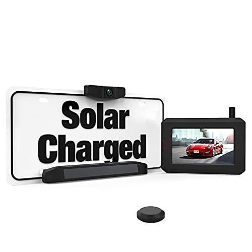 BOSCAM SunGo Solar Kabellos Rückfahrkamera Set, DIY Installation ohne Verkabelung, Drahtlose Digitale Rückfahrkamera mit Stabilem Signal, Funk Rückfahrkamera mit IP68 Wasserdichtem Standard