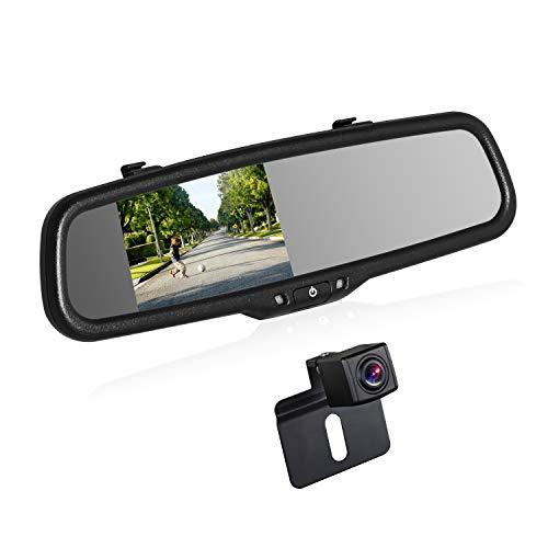 BOSCAM K2 Rückfahrkamera Set, Rückfahrkamera Drahtlos mit 14.4 cm/4.3' Zoll LCD Farbdisplay im Rückspiegel, IP68 wasserdichte Rückfahrkamera mit Nachtsicht für Auto, Bus, LKW, Schulbus, Anhänger
