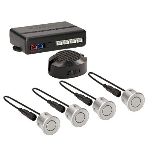 VSG24 22112 – Premium Einparkhilfe Set, Akustisches Signal, Park System inkl. 4 Sensoren & Lautsprecher, e13-Zulassung, Automatisch, Hinten - Silber
