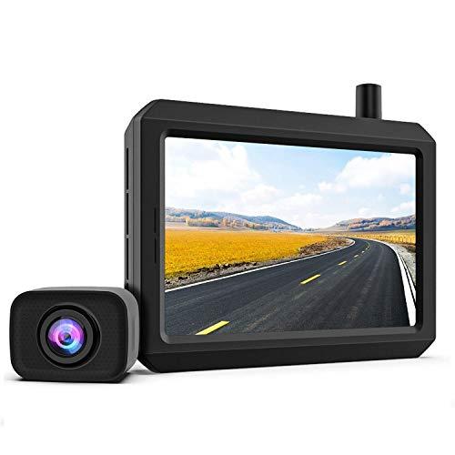 K7PRO Digital Kabellos Rückfahrkamera Set unterstützt 2 Kameras, Funk Rückfahrkamera mit Stabilem Signal, 5' HD Monitor, Drahtlose Rückfahrkamera mit IP68 Wasserdichter Kamera, Nachtsicht