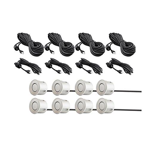 VSG® Premium Einparkhilfe Kombi-Set für vorne&hinten mit Farb-Display und eingebauten Pieper in Silber