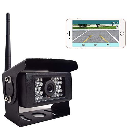 Auto Digital WiFi Rückfahrkamera, 12-24V WiFi 28 IR-Nachtsicht Wasserdicht Rückansicht Kamera, Übertragungsentfernung bis zu 100FT für iPhone Android Tablet für Anhänger LKW RV