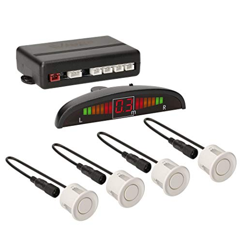 VSG24 22123 – Premium Einparkhilfe Set, Farb Display & Akustisches Signal, Park System inkl. 4 Sensoren, e13-Zulassung, Automatisch, Hinten - Weiß