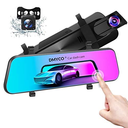 Spiegel Dashcam Vorne Hinten, DMYCO 2.5k+1080P Ultra HD Autokamera mit 170° Weitwinkel, Super Nachtsicht,10' IPS Touchscreen, Loop-Aufnahme und G-Sensor, Parküberwachung, GPS enthalten