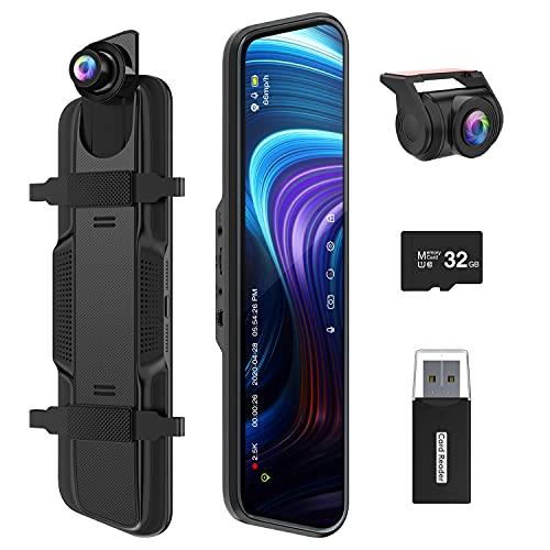 Spiegel Dashcam, ThiEYE 2.5k+1080P Ultra HD Auto-Videorecorder Vorne Hinten Lens mit 170° Weitwinkel, Super Nachtsicht,10' IPS Touchscreen, Loop-Aufnahme und G-Sensor, Parküberwachung,GPS(Optional)