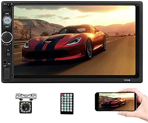 Autoradio Bluetooth - Autoradio Doppel Din mit 7 Zoll Touchscreen unterstützt Freisprecheinrichtung,Mirrorlink,Multimedia Player FM / USB / TF / AUX,Autoradio mit Rückfahrkamera & Lenkradfernbedienung
