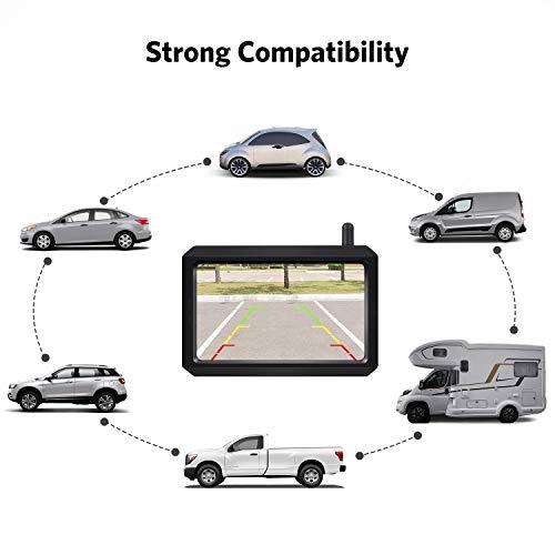 BOSCAM K7 Drahtlos Digital Rückfahrkamera Set mit Eingebautem Funksender, 5' LCD Monitor, Kabellose Rückfahrkamera mit IP68 Wasserdichter Kamera, Nachtsicht für Kfz, SUV, Van, Campingbus, Anhänger