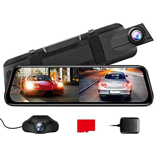 AZDOME 10' Spiegel Dashcam mit Rückfahrkamera[2.5K 1440P, 170°Vorne+1080P, 150°Hinten], GPS, Super Nachtsicht, WDR, Loop-Aufnahme, G-Sensor, Einparkhilfe, Parküberwachung, 32G Micro SD-Karte (PG02S)