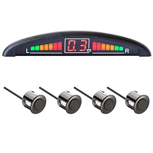 VSG® Einparkhilfe mit Farb-Display und eingebauten Pieper inklusiv 4 Sensoren in schwarz für hinten
