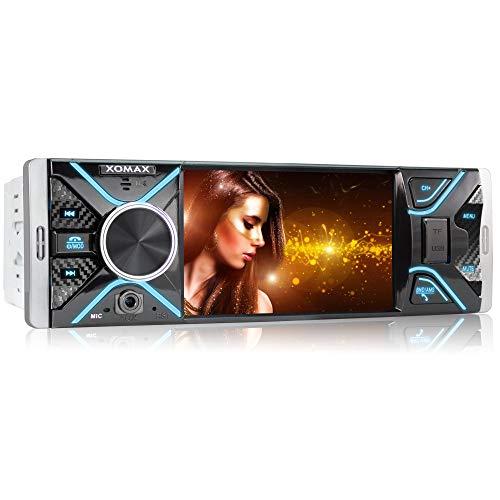 XOMAX XM-V417 Autoradio mit 4.1' / 10 cm Bildschirm I Bluetooth Freisprecheinrichtung I USB, SD, AUX I RDS I Anschlüsse für Rückfahrkamera und Lenkradfernbedienung I 7 Beleuchtungsfarben I 1 DIN