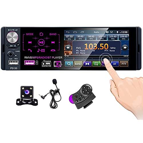 CAMECHO Bluetooth-Autoradio 4'Kapazitiver Touchscreen Einzel-DIN-Autoradio FM/AM/RDS-Radioempfänger mit Zwei USB- / AUX-In- / SD-Kartenanschlüssen + Rückfahrkamera + Lenkradsteuerung