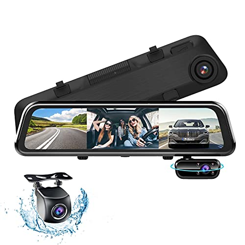 3 Lens HD 1080P Spiegel Dashcam mit Rückfahrkamera, 12' Anti-Glare Full-Touchscreen Dashcam Auto Vorne Hinten, Dashcam Spiegel mit Nachtsicht, Parküberwachung, G-Sensor, Loop-Aufnahme, 170° Weitwinke