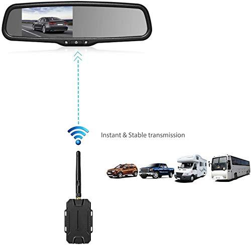 AUTO-VOX T1400W Wireless Rückfahrkamera Set, Kabellose Einparkhilfsystem, Rückspiegel Monitor mit Backup Kamera Kit, Funksender,IP68 Wasserdicht LED Super Nachtsicht Rückfahrkamera, FHD Monitor