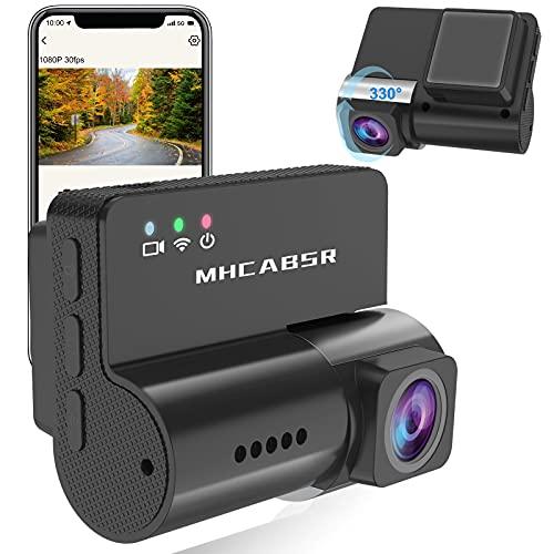 Mini Dash Cam WiFi mit App,1080P Autokamera DVR Recorder 330 ° drehbare Linse G-Sensor Loop Recording, Nachtsicht, Parkmonitor, Bewegungserkennung, Unterstützung 128G Sprachsteuerung