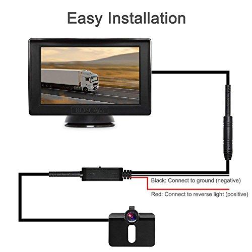 BOSCAM K3 Rückfahrkamera und Monitor Set Wired Rückfahrkamera mit Stabiler Signalübertragung, 14.4 cm/4.3' Zoll Rear View Monitor und IP68 wasserdichte Kamera für Auto, Bus, LKW, Schulbus, Anhänger