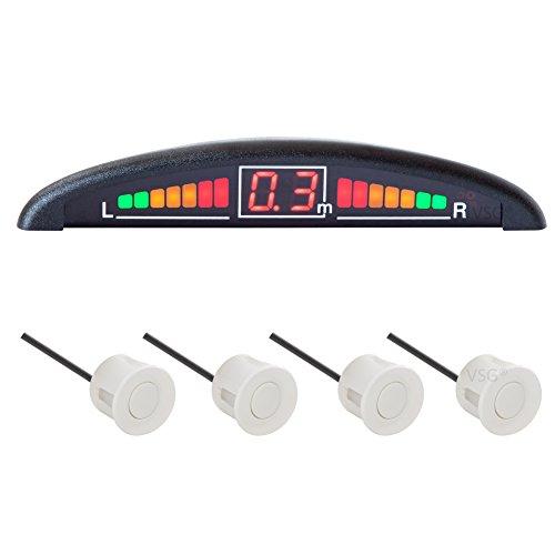 VSG® Einparkhilfe mit Farb-Display und eingebauten Pieper inklusiv 4 Sensoren in weiß für hinten