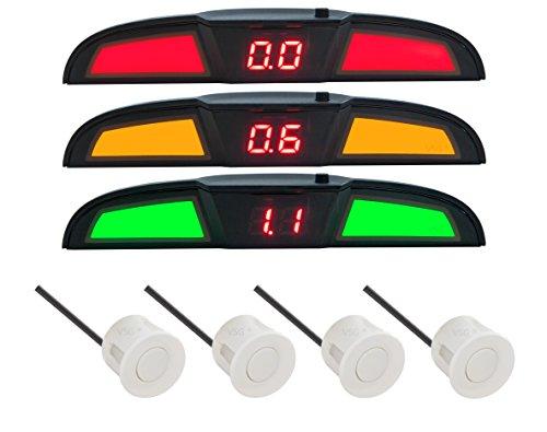 VSG® PRO Multi-Farbdisplay Einparkhilfe mit eingebauten Pieper inklusiv 4 Sensoren in weiß für hinten