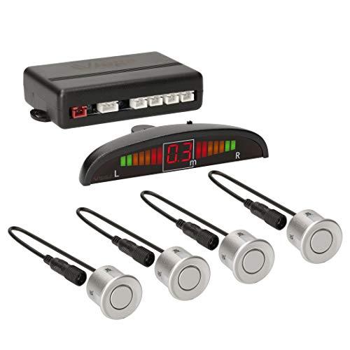 VSG24 22122 – Premium Einparkhilfe Set, Farb Display & Akustisches Signal, Park System inkl. 4 Sensoren, e13-Zulassung, Automatisch, Hinten - Silber