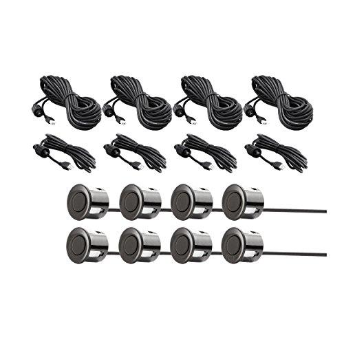 VSG® Premium Einparkhilfe Kombi-Set für vorne&hinten mit Farb-Display und eingebauten Pieper in schwarz