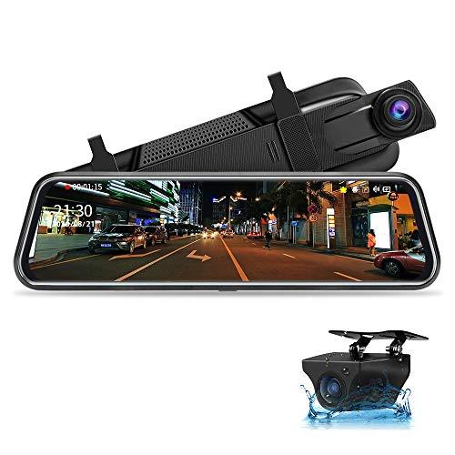 Jansite Spiegel Dashcam 10'' Touch Screen Full HD 1080P, Autokamera Rückfahrkamera mit 10 Meter Kabel, 1080P FHD 170° Weitwinkel-Nachtsicht Weitwinkel mit Loop-Aufnahme und G-Sensor