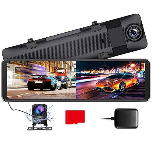AZDOME 11' Spiegel Dashcam mit Rückfahrkamera[1296P, 170°Vorne+1080P, 150°Hinten], GPS, Super Nachtsicht, WDR, Loop-Aufnahme, G-Sensor, Einparkhilfe, Parküberwachung, 32G Micro SD-Karte (PG16)