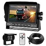 Rückfahrkamera-Set mit 7'-LCD-Monitor & 170° Weitwinkel- Rückfahrkamera, IP68 wasserdicht, 18IR Nachtsicht, für LKW/Anhänger/Bus/Van/Landwirtschaft/Schwertransport(12-24 Volt)