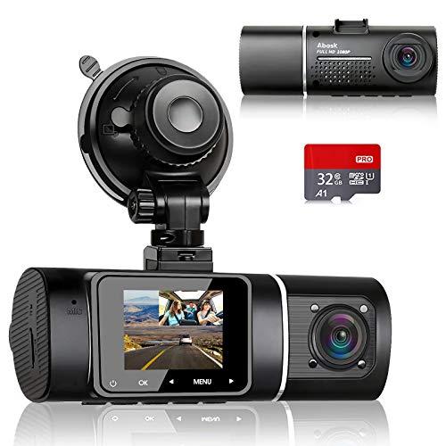 Abask Dashcam Infrarot Nachtsicht Dual Autokamera Vorne und Hinten Full HD 1080P mit 32GB SD-Karte, 310 ° Weitwinkel, G-Sensor, HDR, Loop-Aufnahm, Parküberwachung und Bewegungserkennung für Taxis Uber