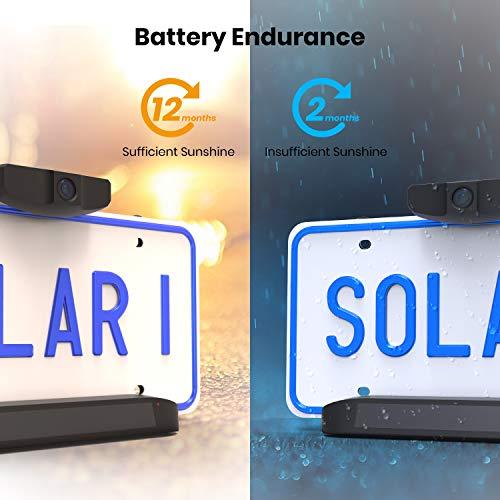 AUTO-VOX Solar Kabellos Rückfahrkamera Set, 5 Min. DIY-Installation, mit 5 Zoll Monitor und Wasserdicht IP68, Nachtsicht, HD Backup-AutoKamera für Pkw, Kleinst- und Mittelklassewagen(Solar 1)
