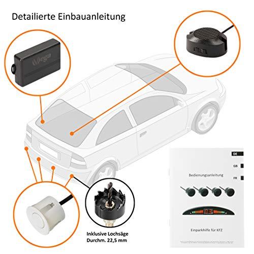 VSG24 22113 – Premium Einparkhilfe Set, Akustisches Signal, Park System inkl. 4 Sensoren & Lautsprecher, e13-Zulassung, Automatisch, Hinten - Weiß