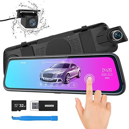 Spiegel Dashcam, ThiEYE Autokamera Video Recorder 1080P Full HD mit 170° Weitwinkelobjektiv,10' IPS Touchscreen, mit Nachtsicht, Loop-Aufnahme und G-Sensor, Parküberwachung,GPS(Optional)