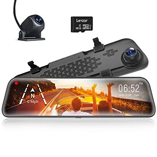 WOLFBOX Spiegel Dashcam Frontkamera und Rückfahrkamera, 1296P Auto Kamera mit 12' IPS-Touchscreen Dual Dash cam, Loop-Aufnahme und G-Sensor, Parküberwachung, GPS, kostenlose 32 GB-Karte