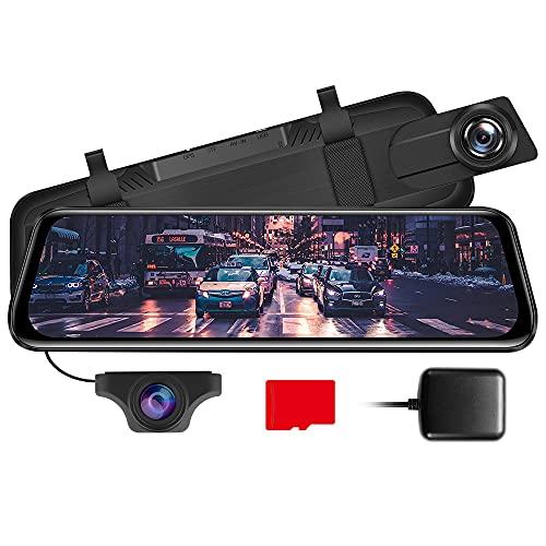 AZDOME 10' Spiegel Dashcam mit Rückfahrkamera, GPS, Parkhilfe, Super Nachtsicht, Loop-Aufnahme, G-Sensor, Parkmonitor, Micro SD Karte Autokamera Dual Lens[1296P, 170°Vorne; 720P, 150°Hinten](PG02)