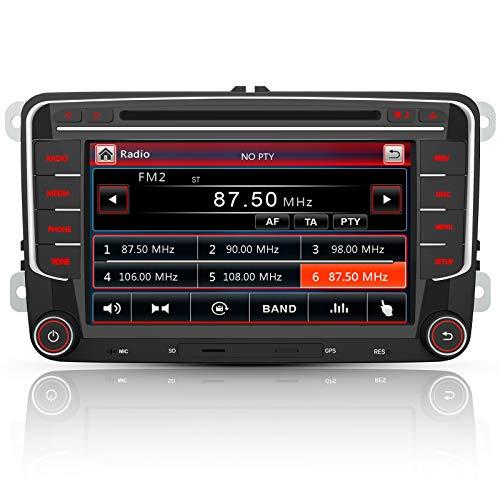 AWESAFE Radio mit Navi für VW Golf Skoda Seat, 2 DIN Autoradio mit Bluetooth CD-Laufwerk 7 Zoll Bildschirm