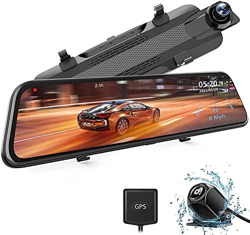WOLFBOX Spiegel Dashcam 2,5K Auto Kamera mit 10' IPS-Touchscreen Frontkamera und Rückfahrkamera, Dual Dash cam , Loop-Aufnahme und G-Sensor, Parküberwachung, GPS, Nachtsicht