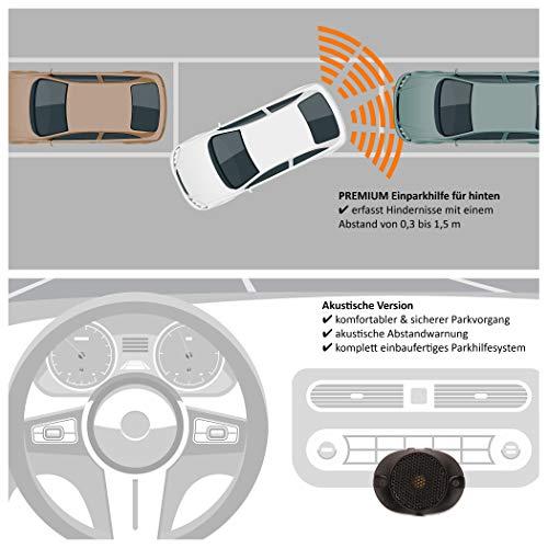 VSG® Einparkhilfe mit einem akustischen Signalgeber und inklusive 4 Sensoren in Silber für hinten