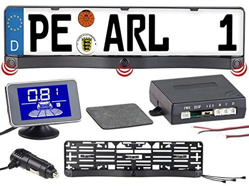 Lescars Rückfahrhilfen: Funk-Ultraschall-Einparkhilfe in Kennzeichen-Halter, mit LCD-Display (PDC)