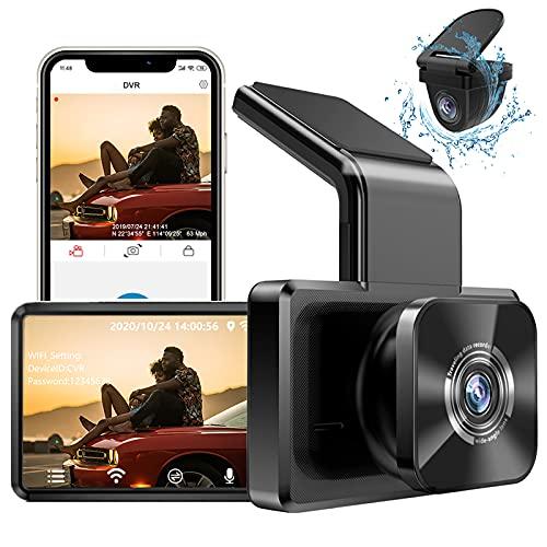 AUTOWOEL Dashcam Auto mit WiFi und GPS,1080P,170 ° Weitwinkel, Nachtsicht Vorne Hinten Auto-Elektronik FHD DVR Mini Auto Kamera, Dual Lens Dash Cam Auto Videorecorder, G-Sensor, Parküberwachung