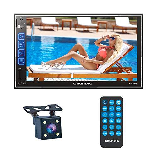 GRUNDIG Doppel DIN Bluetooth Autoradio mit Rückkamera Mikrofon, 7 Zoll Touchscreen Autoradio mit Mirrorlink für Android, IOS, MP5-Player Media Receiver mit Bluetooth Freisprecheinrichtung