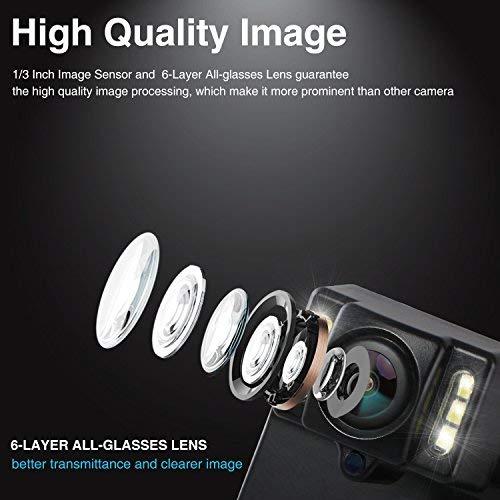 BOSCAM B1 wasserdichte Rückfahrkamera mit 6 LEDs für Nachtsicht, HD Backup Camera mit 170°Weitwinkel und Hilfslinien, Reverse Camera mit Klebepad passt zu universal EU-Nummernschild
