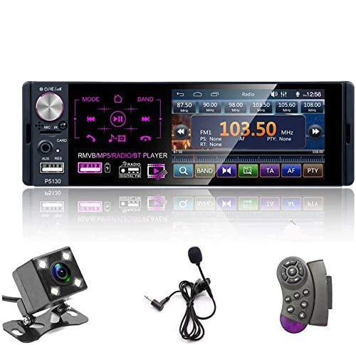 Single Din Auto Stereo Radio, 12V 4,1' Auto MP5 Player mit Bluetooth Audio & Hands-Free Calling, FM Receiver USB/AUX-in/SD Kartenanschluss + Steuerung Fernbedienung & Backup Kamera