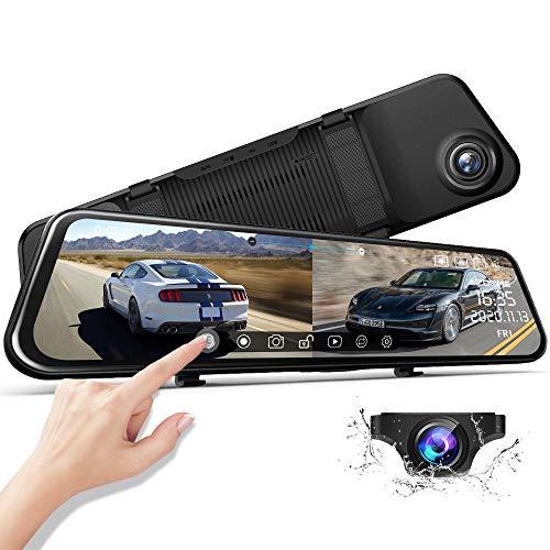 AZDOME 11.8' Spiegel Dashcam mit Rückfahrkamera, Super Nachtsicht, Loop-Aufnahme, G-Sensor, Einparkhilfe, Parkmonitor Autokamera Dual Lens[1296P, 170°Vorne; 1080P, 150°Hinten](2020Version PG17)
